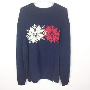 Tommy Hilfiger Blue White Snowflake Knit Sweater